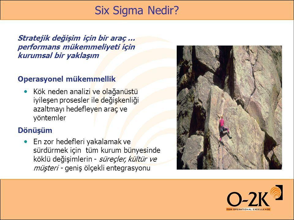 Six Sigma Nedir? Stratejik değişim için bir araç... performans mükemmeliyeti için kurumsal bir yaklaşım Operasyonel mükemmellik  Kök neden analizi ve