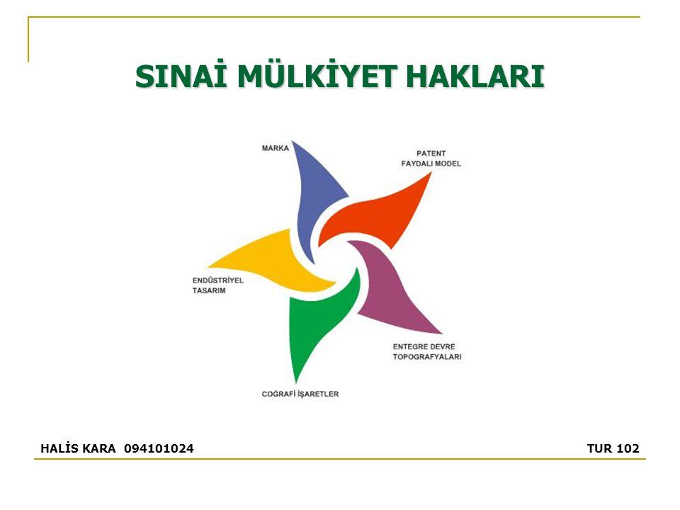 SINAİ MÜLKİYET HAKLARI HALİS KARA 094101024 TUR 102