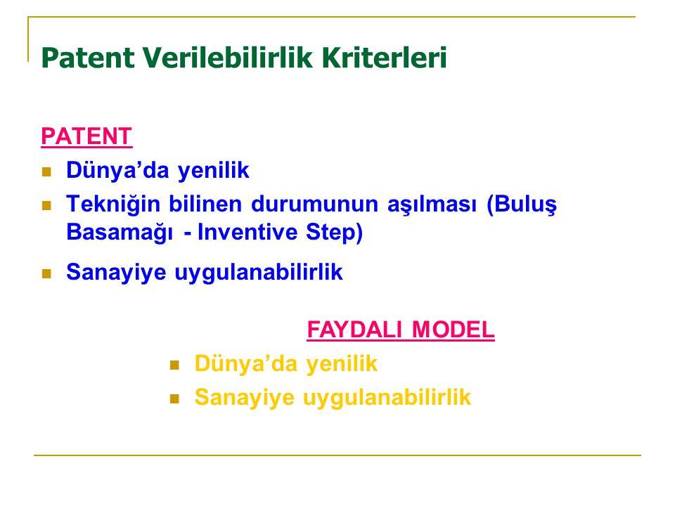 Patent Verilebilirlik Kriterleri PATENT  Dünya'da yenilik  Tekniğin bilinen durumunun aşılması (Buluş Basamağı - Inventive Step)  Sanayiye uygulanabilirlik FAYDALI MODEL  Dünya'da yenilik  Sanayiye uygulanabilirlik