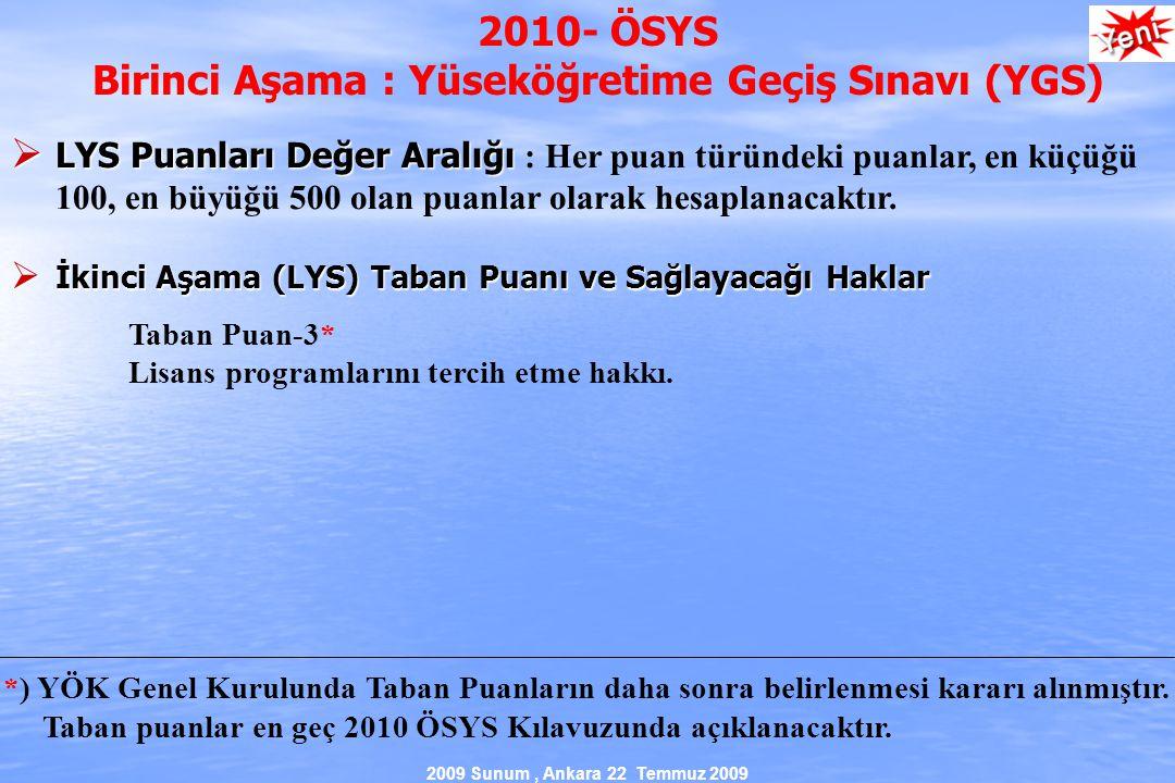 2009 Sunum, Ankara 22 Temmuz 2009 2010- ÖSYS Birinci Aşama : Yüseköğretime Geçiş Sınavı (YGS)  LYS Puanları Değer Aralığı  LYS Puanları Değer Aralığı : Her puan türündeki puanlar, en küçüğü 100, en büyüğü 500 olan puanlar olarak hesaplanacaktır.