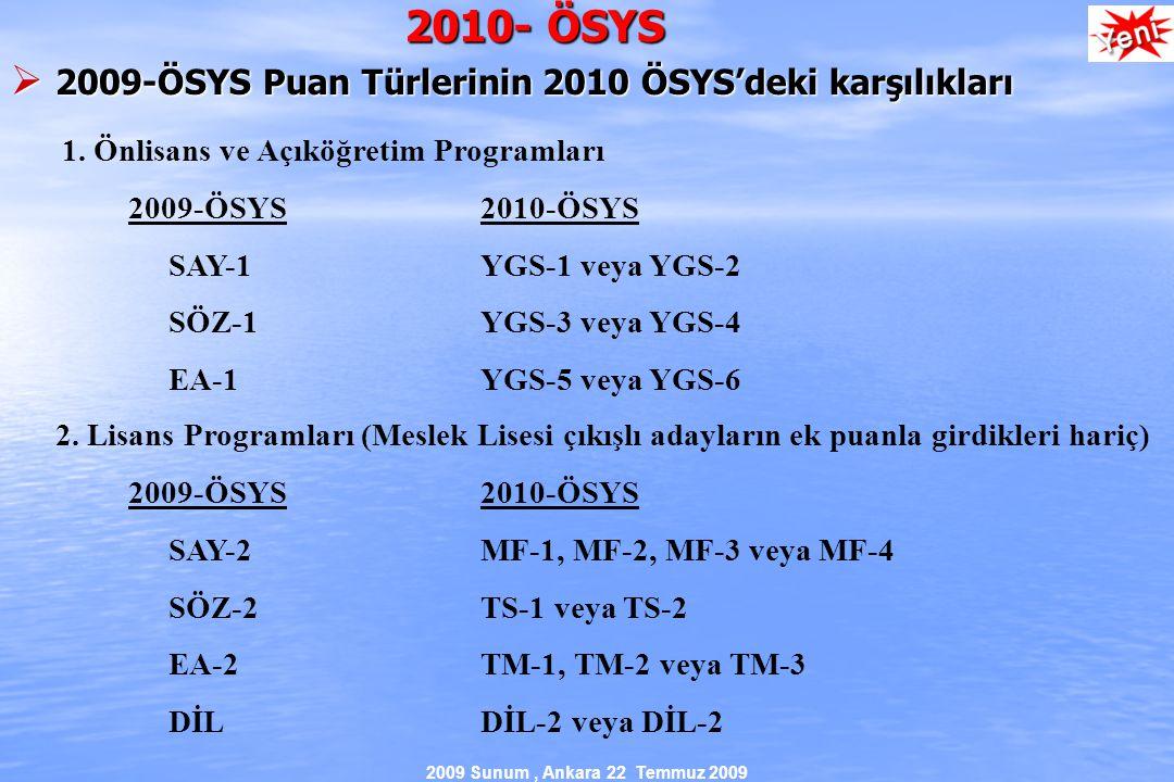 2009 Sunum, Ankara 22 Temmuz 2009 2010- ÖSYS  2009-ÖSYS Puan Türlerinin 2010 ÖSYS'deki karşılıkları 1.