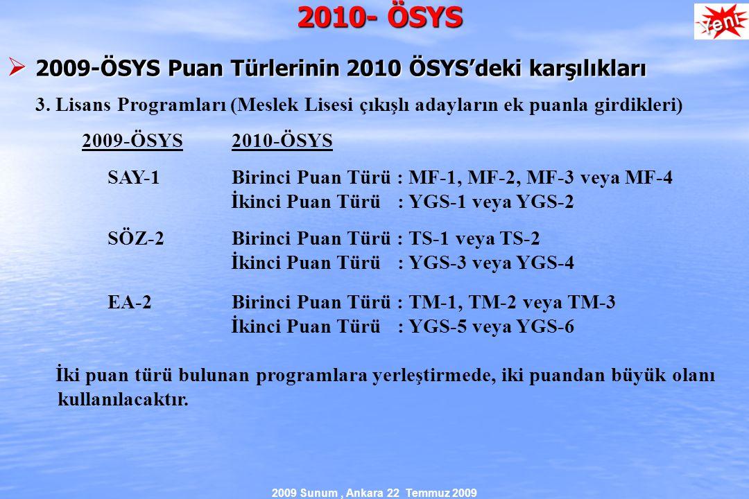 2009 Sunum, Ankara 22 Temmuz 2009 2010- ÖSYS  2009-ÖSYS Puan Türlerinin 2010 ÖSYS'deki karşılıkları 3.