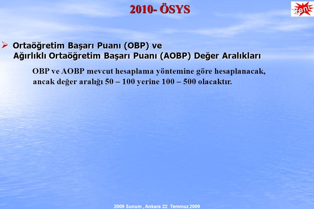 2009 Sunum, Ankara 22 Temmuz 2009 2010- ÖSYS  Ortaöğretim Başarı Puanı (OBP) ve Ağırlıklı Ortaöğretim Başarı Puanı (AOBP) Değer Aralıkları Ağırlıklı Ortaöğretim Başarı Puanı (AOBP) Değer Aralıkları OBP ve AOBP mevcut hesaplama yöntemine göre hesaplanacak, ancak değer aralığı 50 – 100 yerine 100 – 500 olacaktır.