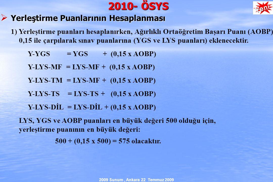 2009 Sunum, Ankara 22 Temmuz 2009 2010- ÖSYS  Yerleştirme Puanlarının Hesaplanması 1) Yerleştirme puanları hesaplanırken, Ağırlıklı Ortaöğretim Başarı Puanı (AOBP) 0,15 ile çarpılarak sınav puanlarına (YGS ve LYS puanları) eklenecektir.