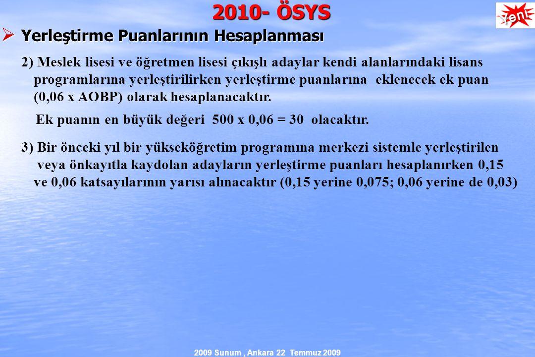 2009 Sunum, Ankara 22 Temmuz 2009 2010- ÖSYS  Yerleştirme Puanlarının Hesaplanması 2) Meslek lisesi ve öğretmen lisesi çıkışlı adaylar kendi alanlarındaki lisans programlarına yerleştirilirken yerleştirme puanlarına eklenecek ek puan (0,06 x AOBP) olarak hesaplanacaktır.