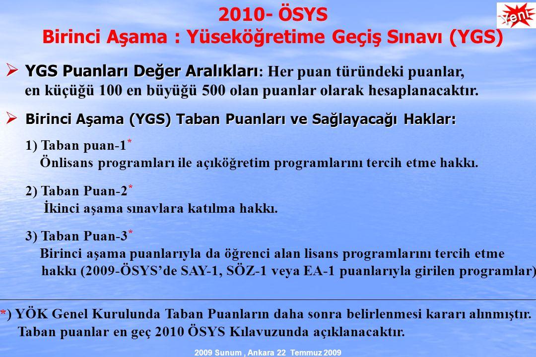 2009 Sunum, Ankara 22 Temmuz 2009 2010- ÖSYS Birinci Aşama : Yüseköğretime Geçiş Sınavı (YGS)  YGS Puanları Değer Aralıkları  YGS Puanları Değer Aralıkları : Her puan türündeki puanlar, en küçüğü 100 en büyüğü 500 olan puanlar olarak hesaplanacaktır.