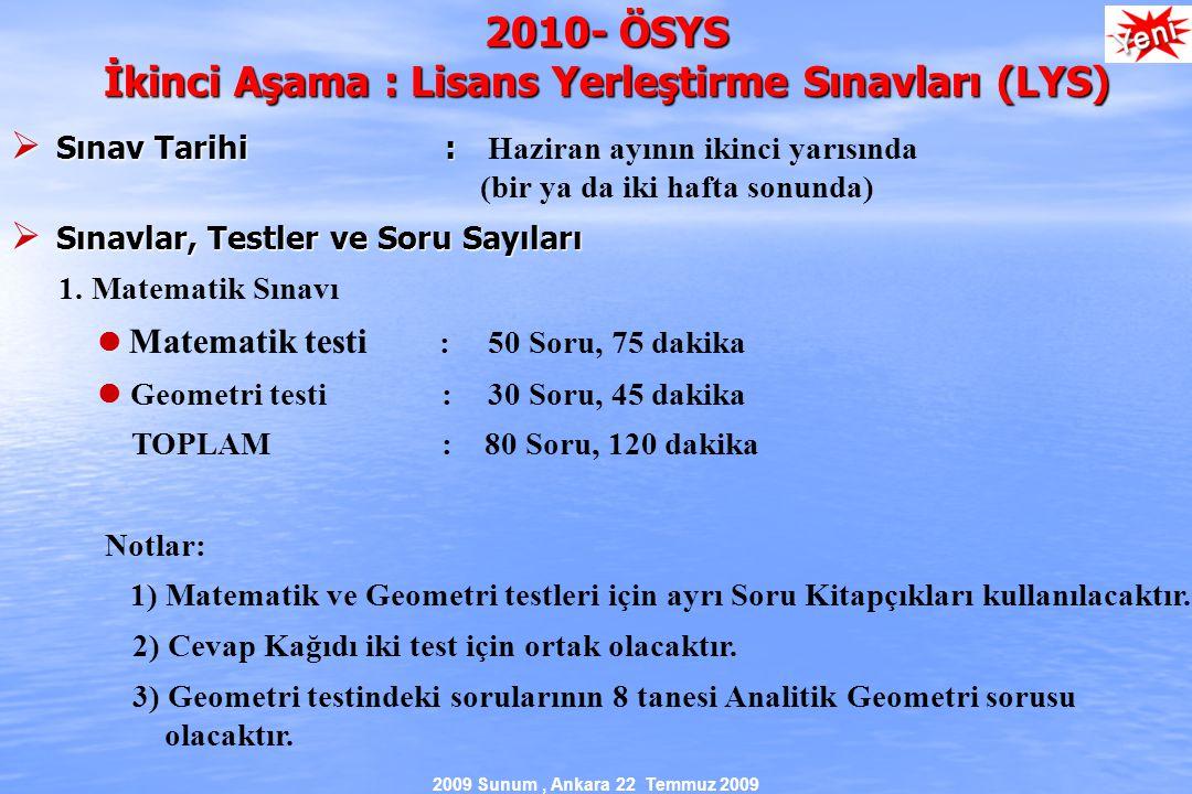 2009 Sunum, Ankara 22 Temmuz 2009 2010- ÖSYS İkinci Aşama : Lisans Yerleştirme Sınavları (LYS)  Sınav Tarihi :  Sınav Tarihi : Haziran ayının ikinci yarısında (bir ya da iki hafta sonunda)  Sınavlar, Testler ve Soru Sayıları 1.