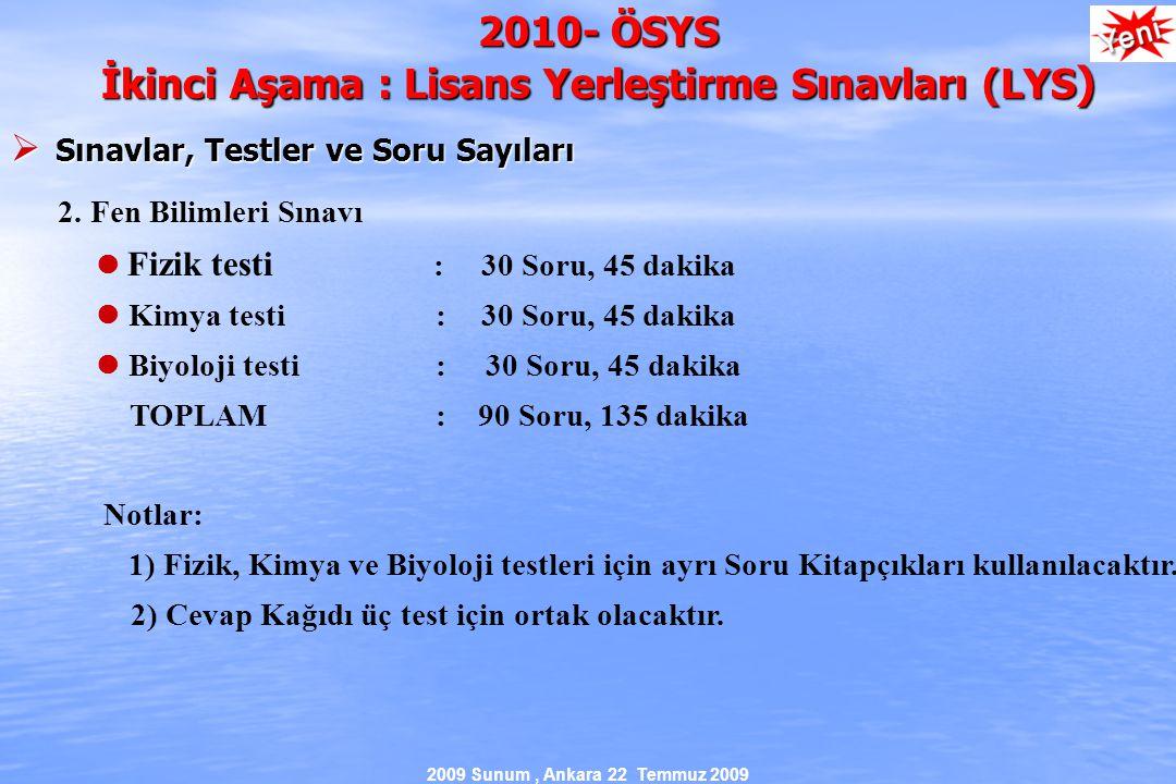 2009 Sunum, Ankara 22 Temmuz 2009 2010- ÖSYS İkinci Aşama : Lisans Yerleştirme Sınavları (LYS )  Sınavlar, Testler ve Soru Sayıları 2.