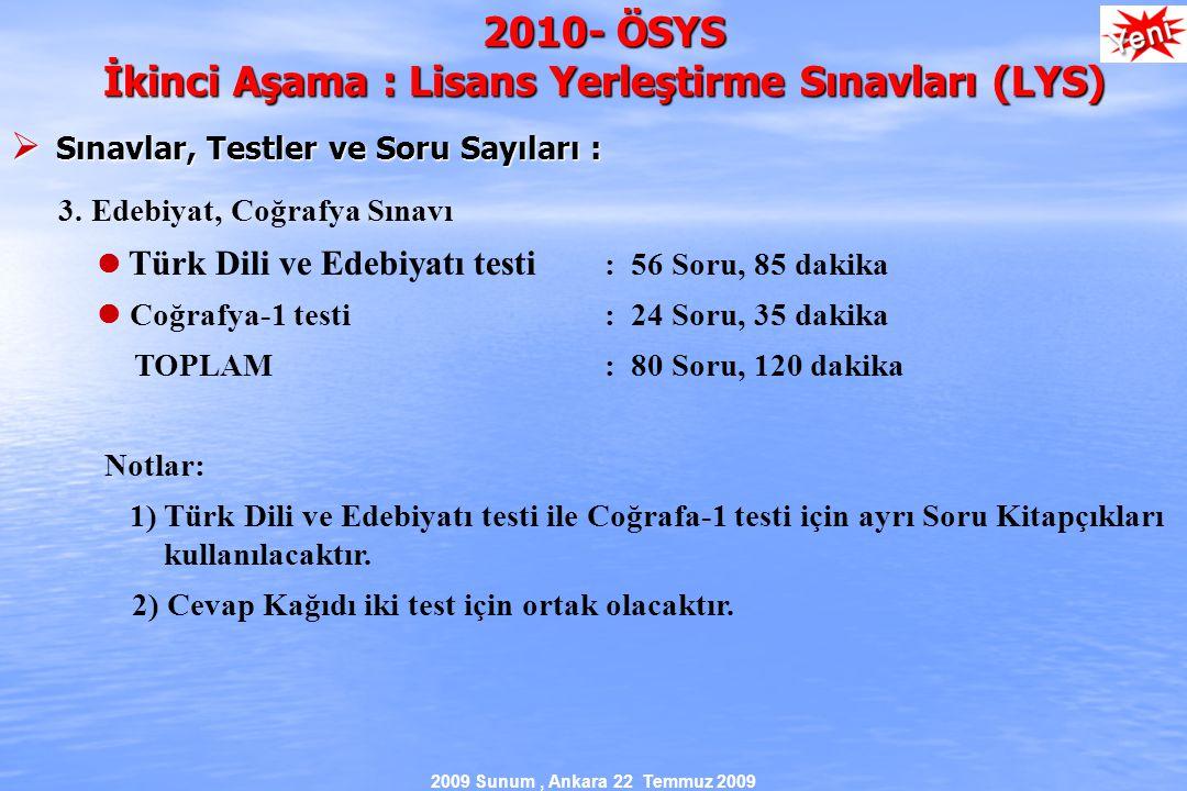 2009 Sunum, Ankara 22 Temmuz 2009 2010- ÖSYS İkinci Aşama : Lisans Yerleştirme Sınavları (LYS)  Sınavlar, Testler ve Soru Sayıları : 3.