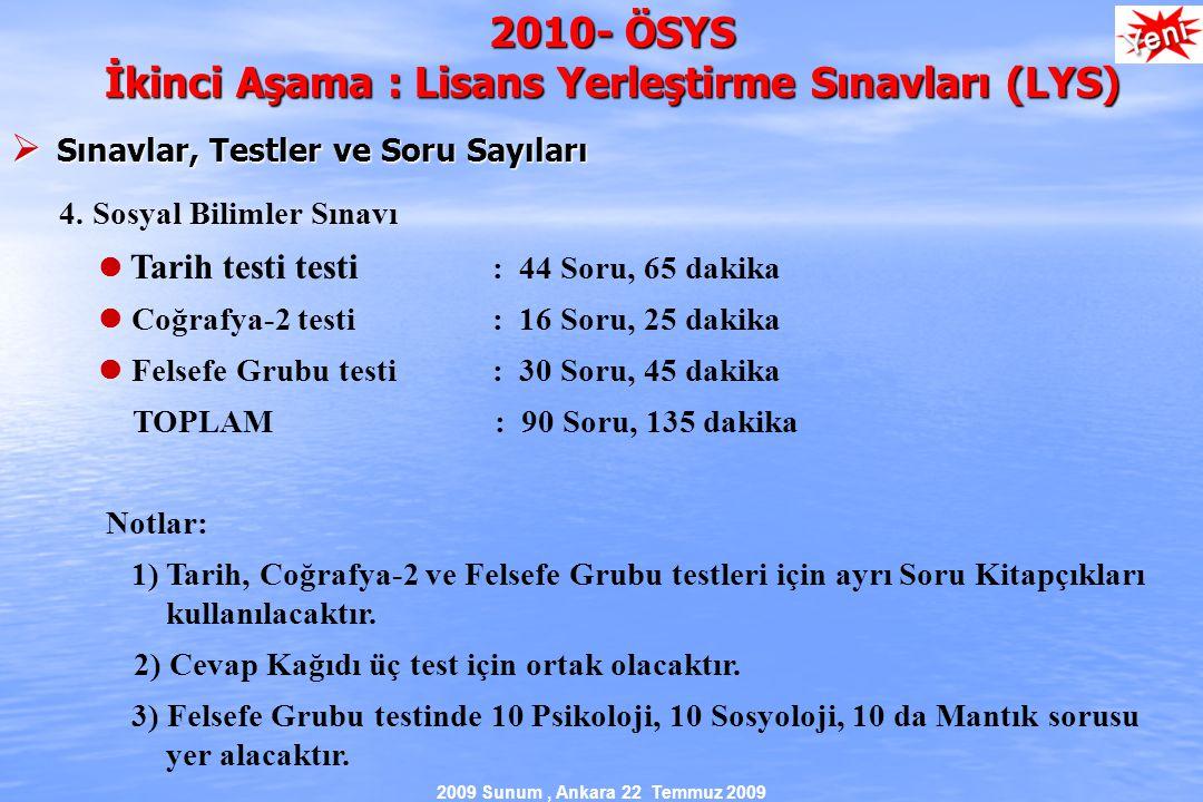 2009 Sunum, Ankara 22 Temmuz 2009 2010- ÖSYS İkinci Aşama : Lisans Yerleştirme Sınavları (LYS)  Sınavlar, Testler ve Soru Sayıları 4.