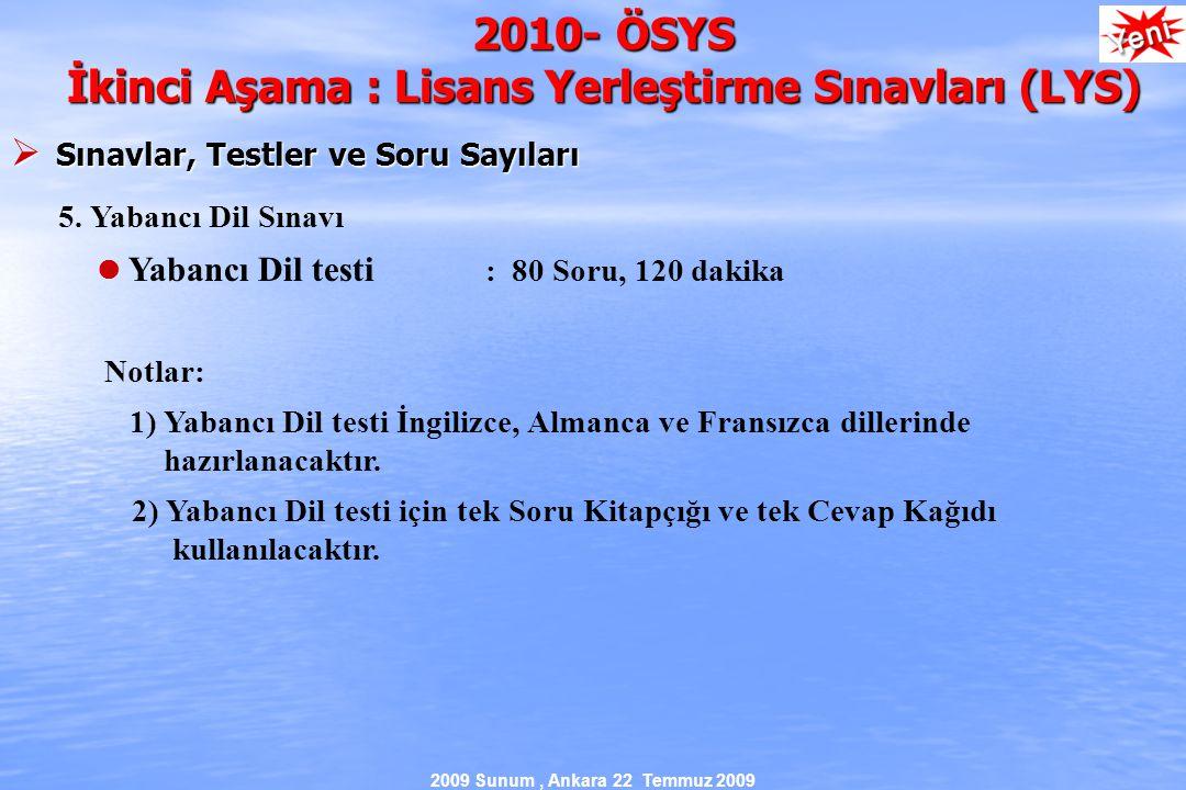 2009 Sunum, Ankara 22 Temmuz 2009 2010- ÖSYS İkinci Aşama : Lisans Yerleştirme Sınavları (LYS)  Sınavlar, Testler ve Soru Sayıları 5.