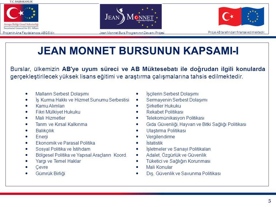 5 JEAN MONNET BURSUNUN KAPSAMI-I Burslar, ülkemizin AB'ye uyum süreci ve AB Müktesebatı ile doğrudan ilgili konularda gerçekleştirilecek yüksek lisans
