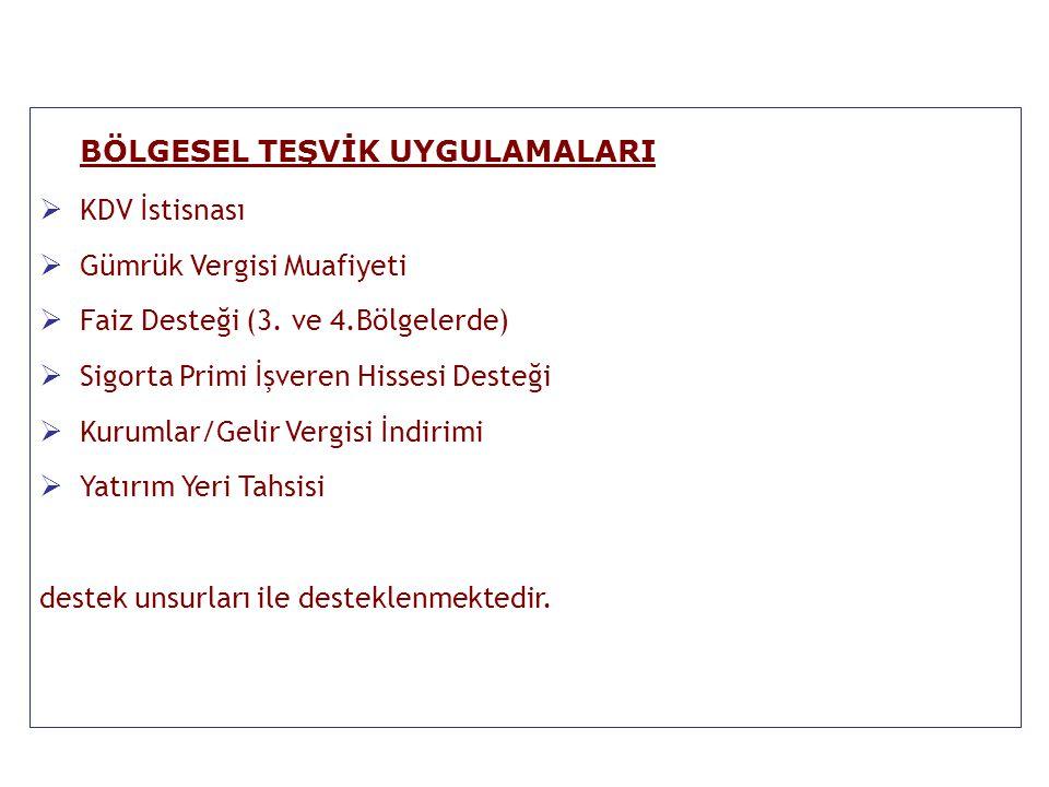 Teşvik Uygulama ve Yabancı Sermaye Genel Müdürlüğü Destek Unsurları Bölgeler I.