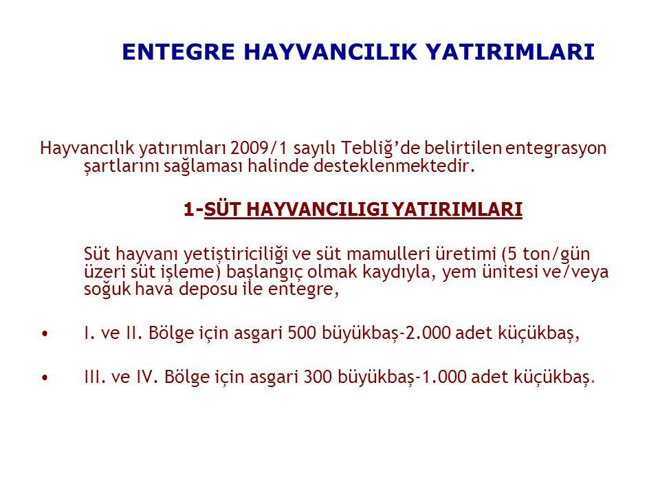 ENTEGRE HAYVANCILIK YATIRIMLARI Hayvancılık yatırımları 2009/1 sayılı Tebliğ'de belirtilen entegrasyon şartlarını sağlaması halinde desteklenmektedir.