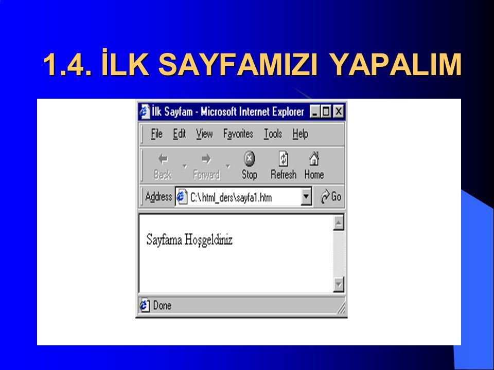 1.4. İLK SAYFAMIZI YAPALIM  4. Şimdi dosyayı kaydedin (Dosya/Farklı Kaydet...). Dosya adı kısmına şöyle yazın: