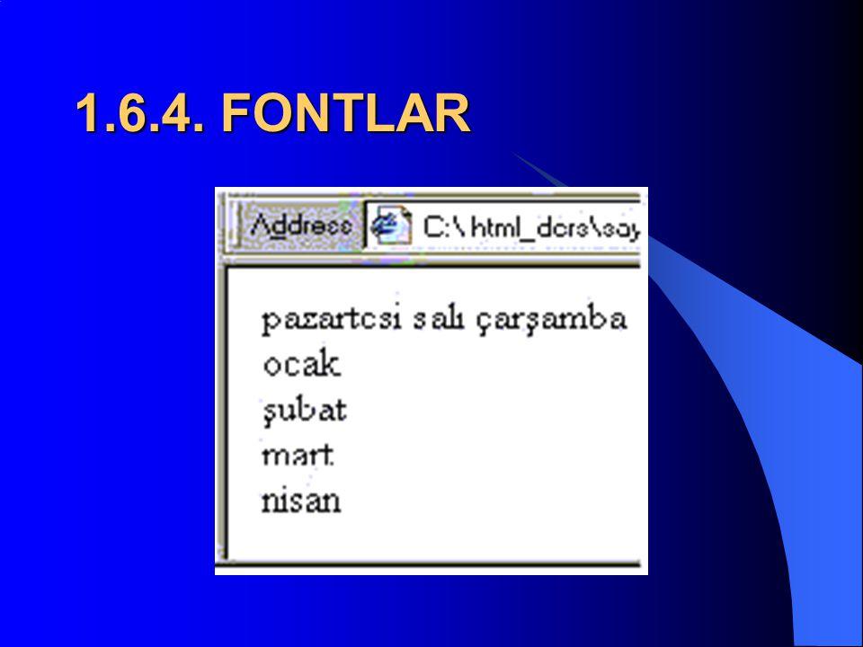 1.6.3. FONTLAR  Buna bir örnek verelim;  BR etiketi pazartesi salı çarşamba ocak şubat mart nisan