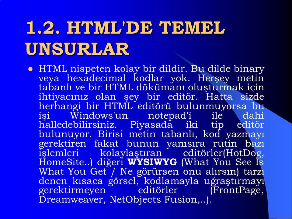 1.1.HTML NEDİR ?  HTML (HyperText Markup Language / Hareketli-Metin İşaretleme Dili) basitçe, browserlarla görebileceğimiz, internet dökümanları oluş