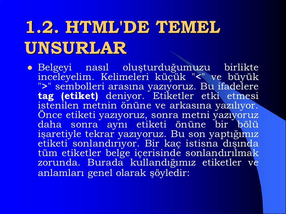 1.2. HTML'DE TEMEL UNSURLAR  HTML nispeten kolay bir dildir. Bu dilde binary veya hexadecimal kodlar yok. Herşey metin tabanlı ve bir HTML dökümanı o