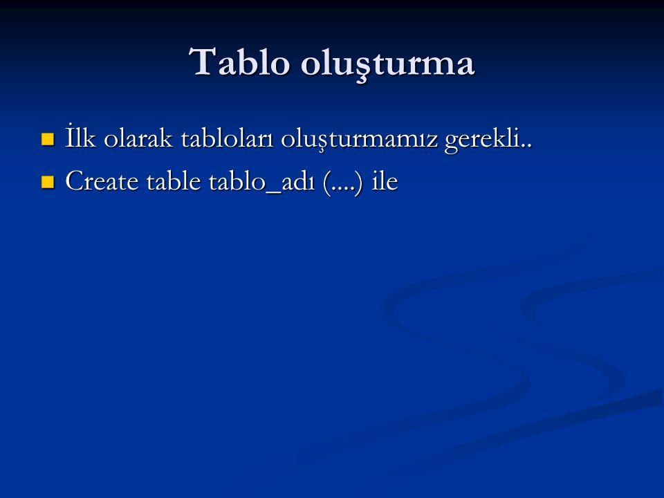 Tablo oluşturma  İlk olarak tabloları oluşturmamız gerekli..  Create table tablo_adı (....) ile