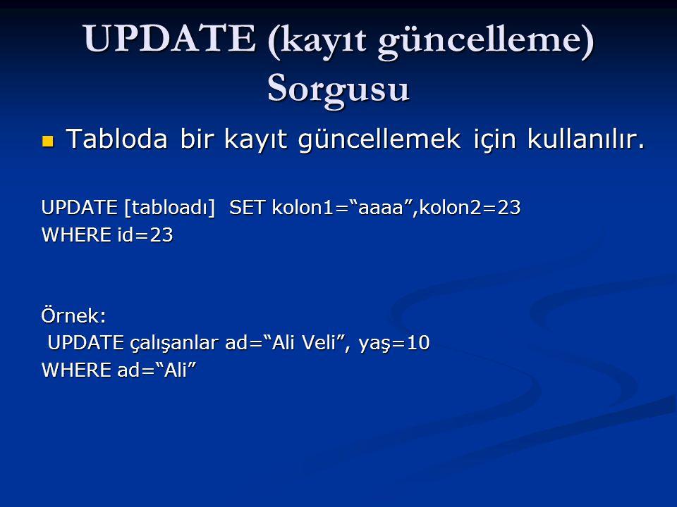 "UPDATE (kayıt güncelleme) Sorgusu  Tabloda bir kayıt güncellemek için kullanılır. UPDATE [tabloadı] SET kolon1=""aaaa"",kolon2=23 WHERE id=23 Örnek: UP"