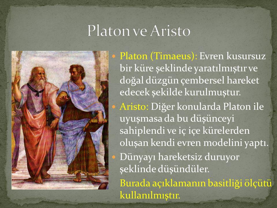  Platon (Timaeus): Evren kusursuz bir küre şeklinde yaratılmıştır ve doğal düzgün çembersel hareket edecek şekilde kurulmuştur.  Aristo: Diğer konul