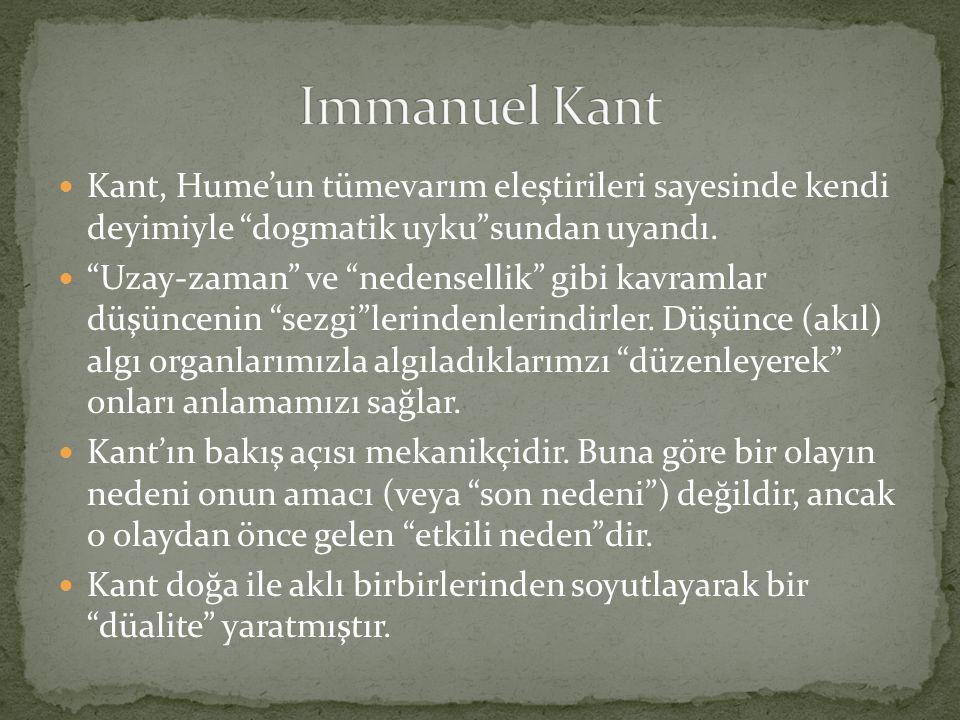 """ Kant, Hume'un tümevarım eleştirileri sayesinde kendi deyimiyle """"dogmatik uyku""""sundan uyandı.  """"Uzay-zaman"""" ve """"nedensellik"""" gibi kavramlar düşüncen"""