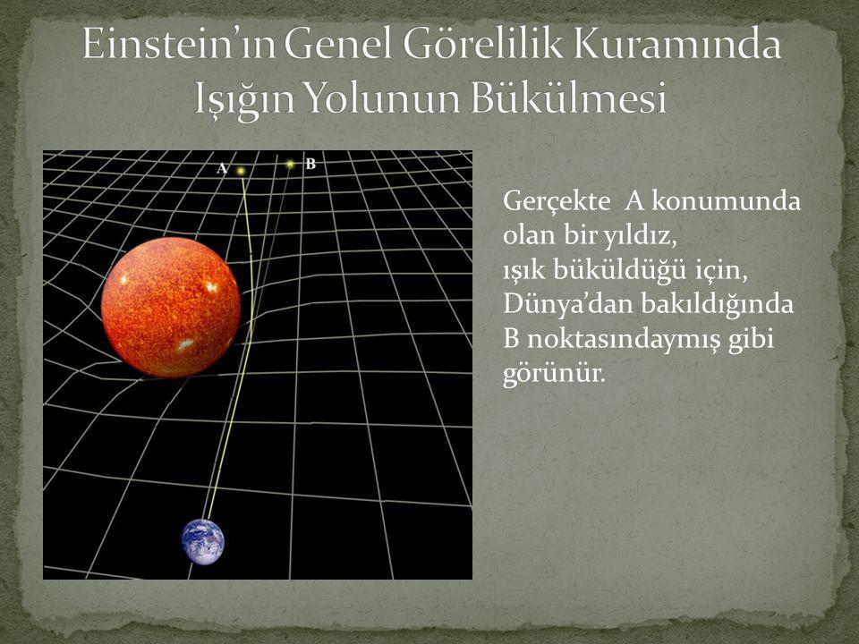 Gerçekte A konumunda olan bir yıldız, ışık büküldüğü için, Dünya'dan bakıldığında B noktasındaymış gibi görünür.