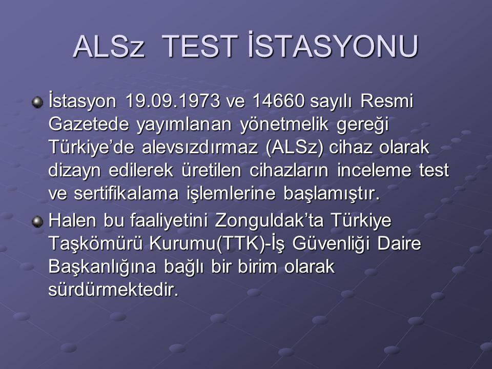 ALSz TEST İSTASYONU İstasyon 19.09.1973 ve 14660 sayılı Resmi Gazetede yayımlanan yönetmelik gereği Türkiye'de alevsızdırmaz (ALSz) cihaz olarak dizay