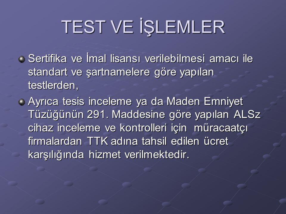 TEST VE İŞLEMLER Sertifika ve İmal lisansı verilebilmesi amacı ile standart ve şartnamelere göre yapılan testlerden, Ayrıca tesis inceleme ya da Maden