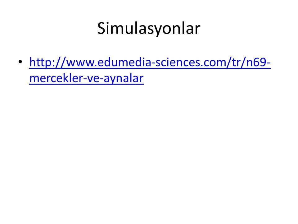 Simulasyonlar • http://www.edumedia-sciences.com/tr/n69- mercekler-ve-aynalar http://www.edumedia-sciences.com/tr/n69- mercekler-ve-aynalar