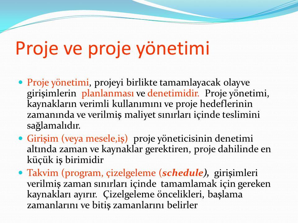 Proje ve proje yönetimi  Proje yönetimi, projeyi birlikte tamamlayacak olayve girişimlerin planlanması ve denetimidir. Proje yönetimi, kaynakların ve