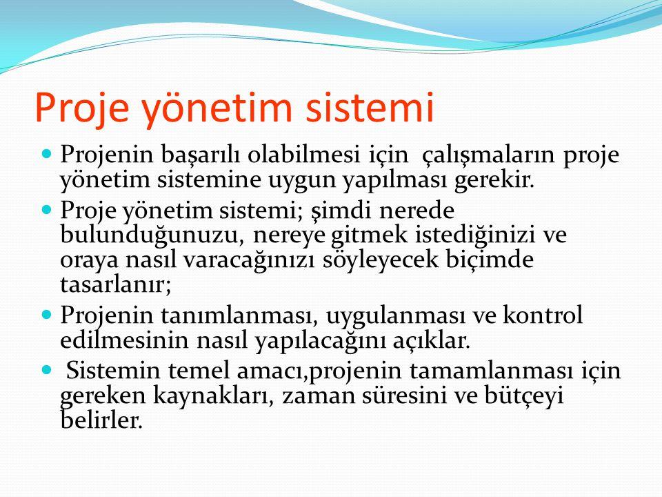 Proje yönetim sistemi  Projenin başarılı olabilmesi için çalışmaların proje yönetim sistemine uygun yapılması gerekir.  Proje yönetim sistemi; şimdi