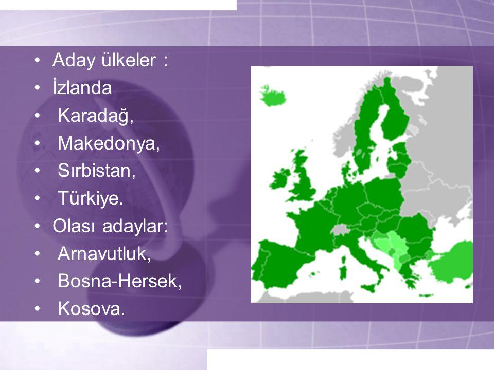 •Aday ülkeler : •İzlanda • Karadağ, • Makedonya, • Sırbistan, • Türkiye. •Olası adaylar: • Arnavutluk, • Bosna-Hersek, • Kosova.