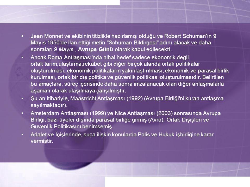 •Jean Monnet ve ekibinin titizlikle hazırlamış olduğu ve Robert Schuman'ın 9 Mayıs 1950'de ilan ettiği metin