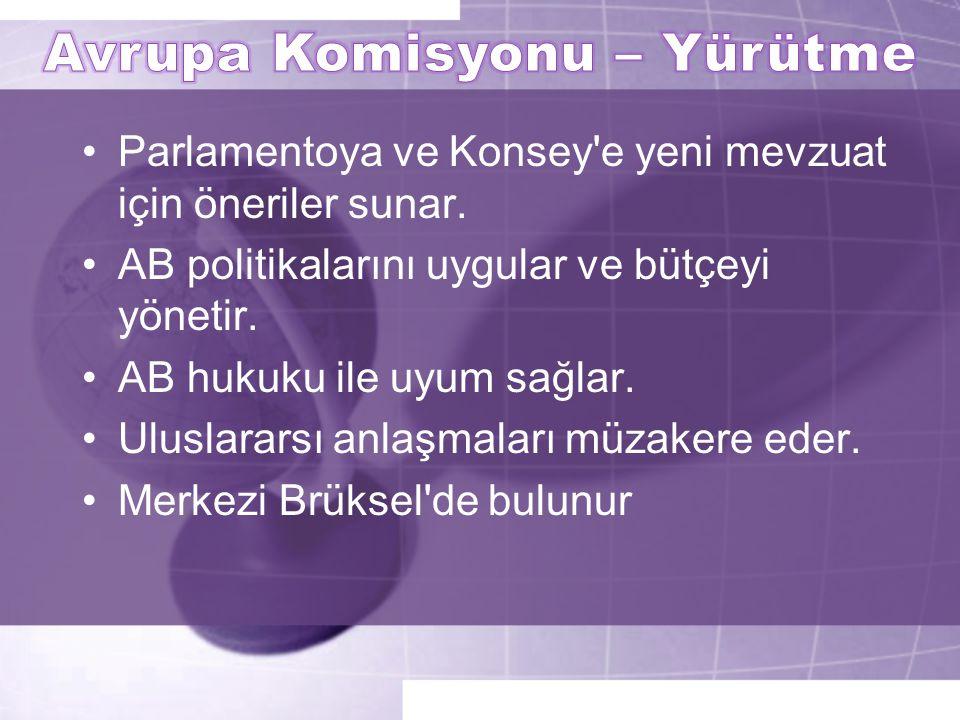 •Parlamentoya ve Konsey'e yeni mevzuat için öneriler sunar. •AB politikalarını uygular ve bütçeyi yönetir. •AB hukuku ile uyum sağlar. •Uluslararsı an