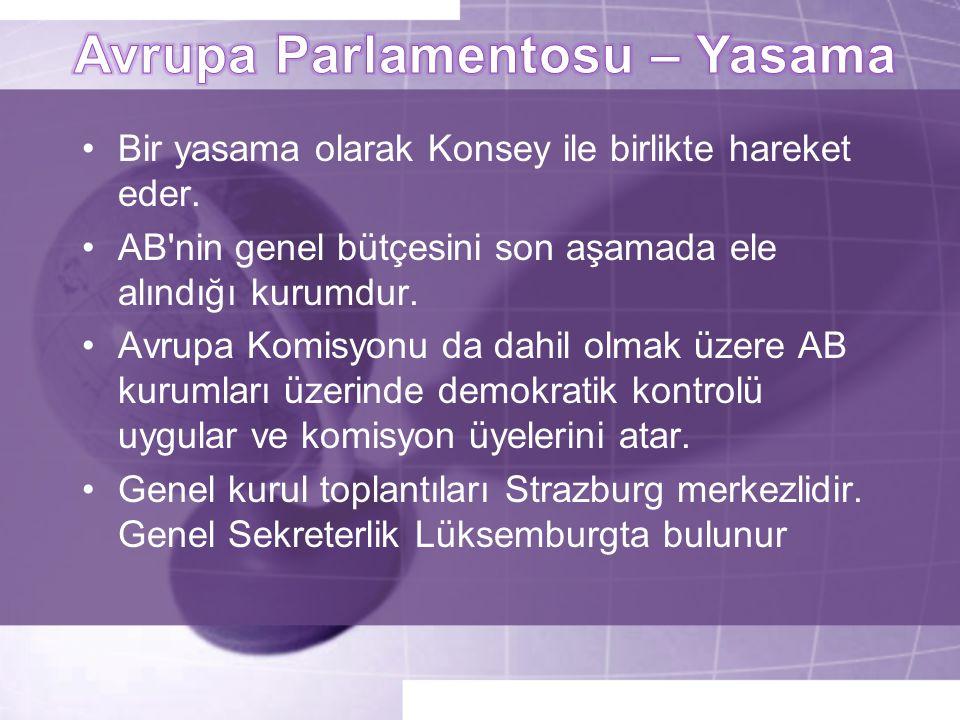 •Bir yasama olarak Konsey ile birlikte hareket eder. •AB'nin genel bütçesini son aşamada ele alındığı kurumdur. •Avrupa Komisyonu da dahil olmak üzere