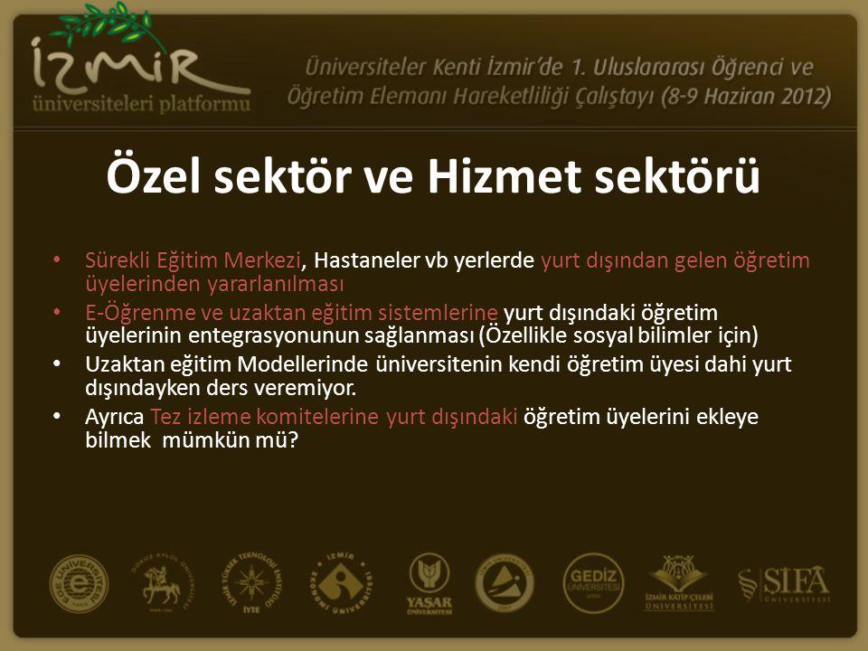 Yurt dışından gelmesi istenen öğretim üyeleri için yapılması gerekenler • Üniversitelerimizin reklamları ve İzmir şehrinin tanıtımı eksik.