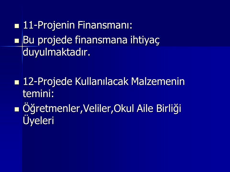  11-Projenin Finansmanı:  Bu projede finansmana ihtiyaç duyulmaktadır.  12-Projede Kullanılacak Malzemenin temini:  Öğretmenler,Veliler,Okul Aile