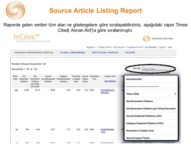 Source Article Listing Report Raporda gelen verileri tüm alan ve göstergelere göre sıralayabilirsiniz, aşağıdaki rapor Times Cited( Alınan Atıf) a göre sıralanmıştır.