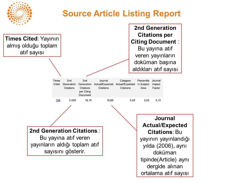 Source Article Listing Report Times Cited: Yayının almış olduğu toplam atıf sayısı 2nd Generation Citations : Bu yayına atıf veren yayınların aldığı toplam atıf sayısını gösterir.