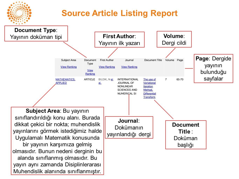 Subject Area: Bu yayının sınıflandırıldığı konu alanı. Burada dikkat çekici bir nokta; muhendislik yayınlarını görmek istediğimiz halde Uygulamalı Mat