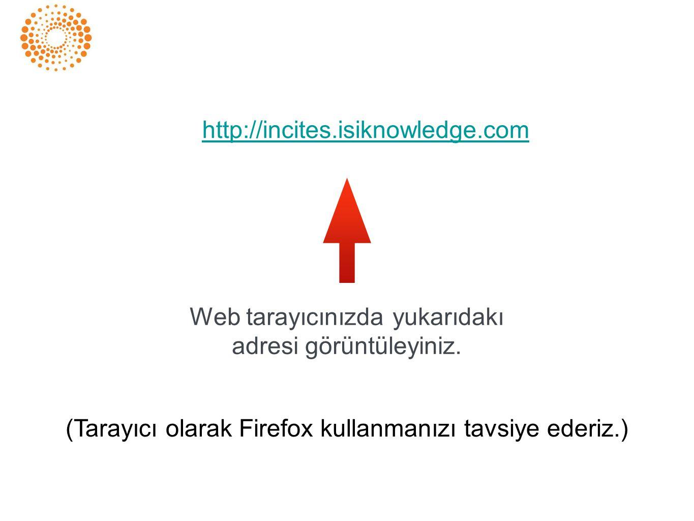 http://incites.isiknowledge.com Web tarayıcınızda yukarıdakı adresi görüntüleyiniz. (Tarayıcı olarak Firefox kullanmanızı tavsiye ederiz.)