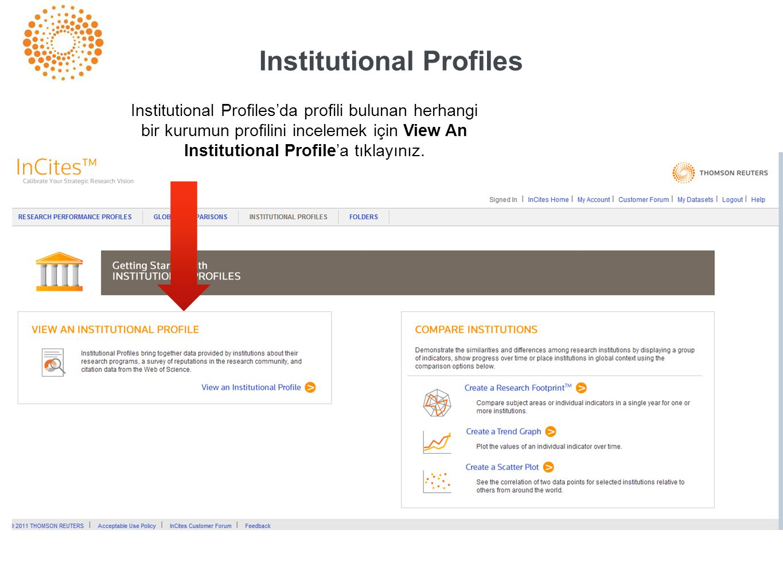 Institutional Profiles Institutional Profiles'da profili bulunan herhangi bir kurumun profilini incelemek için View An Institutional Profile'a tıklayınız.