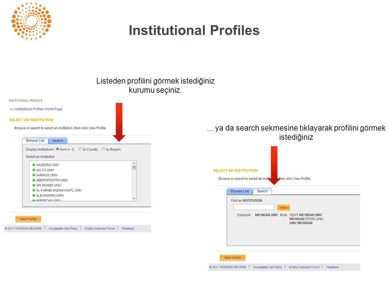 Institutional Profiles Listeden profilini görmek istediğiniz kurumu seçiniz.... ya da search sekmesine tıklayarak profilini görmek istediğiniz