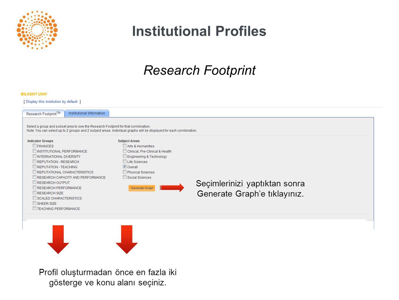 Institutional Profiles Profil oluşturmadan önce en fazla iki gösterge ve konu alanı seçiniz. Research Footprint Seçimlerinizi yaptıktan sonra Generate