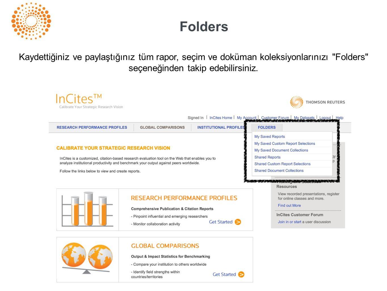 Folders Kaydettiğiniz ve paylaştığınız tüm rapor, seçim ve doküman koleksiyonlarınızı Folders seçeneğinden takip edebilirsiniz.