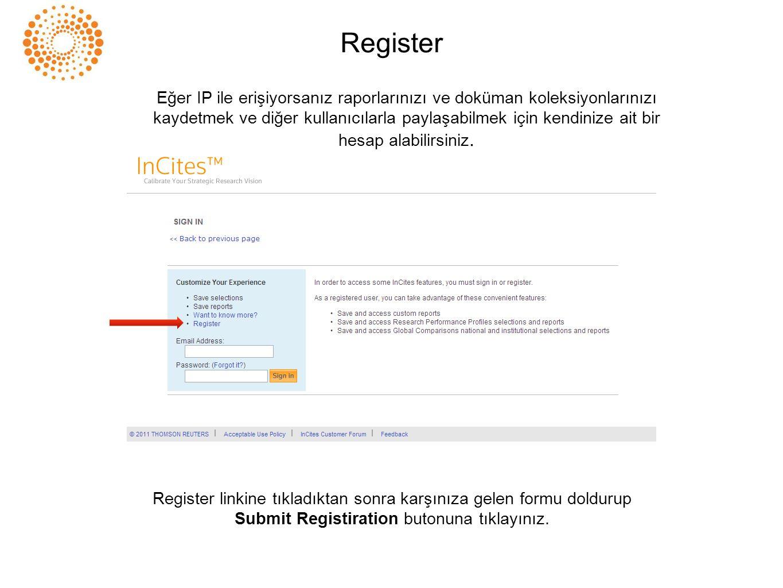 Register Register linkine tıkladıktan sonra karşınıza gelen formu doldurup Submit Registiration butonuna tıklayınız. Eğer IP ile erişiyorsanız raporla