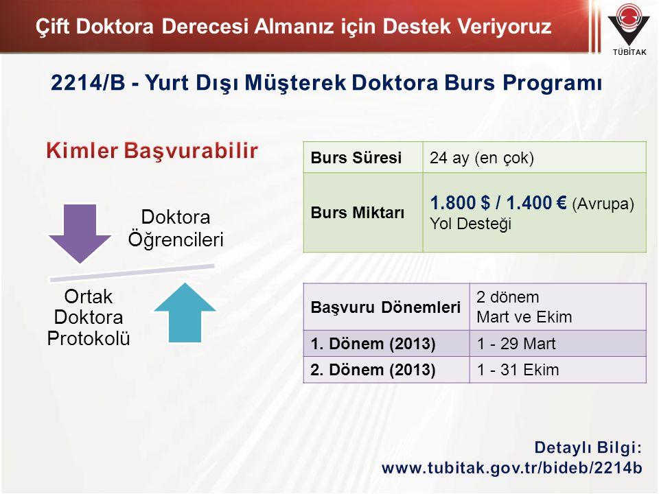 TÜBİTAK Çift Doktora Derecesi Almanız için Destek Veriyoruz Doktora Öğrencileri Ortak Doktora Protokolü Burs Süresi24 ay (en çok) Burs Miktarı 1.800 $