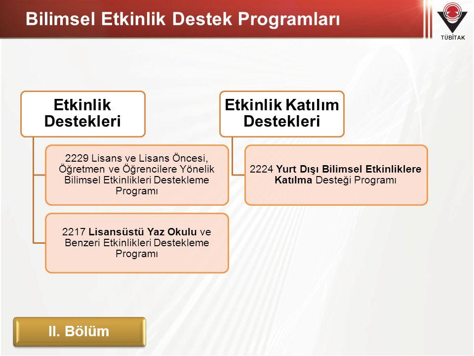 TÜBİTAK Bilimsel Etkinlik Destek Programları Etkinlik Destekleri 2229 Lisans ve Lisans Öncesi, Öğretmen ve Öğrencilere Yönelik Bilimsel Etkinlikleri D