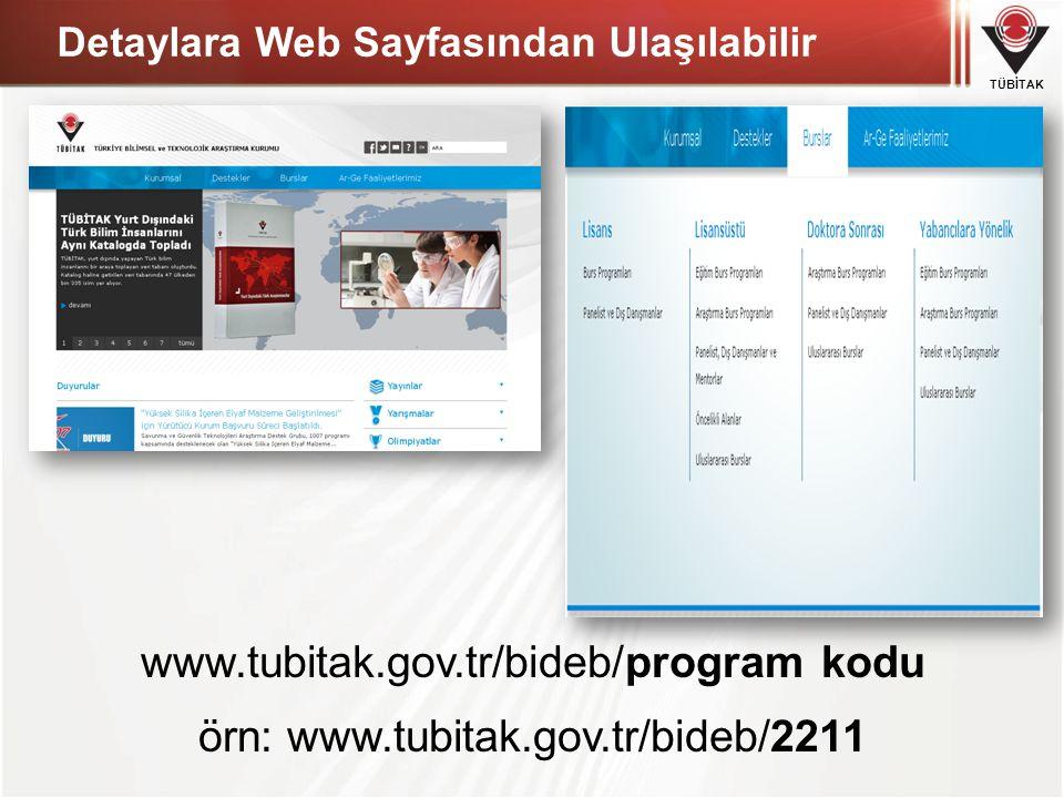 TÜBİTAK www.tubitak.gov.tr/bideb/program kodu örn: www.tubitak.gov.tr/bideb/2211 Detaylara Web Sayfasından Ulaşılabilir